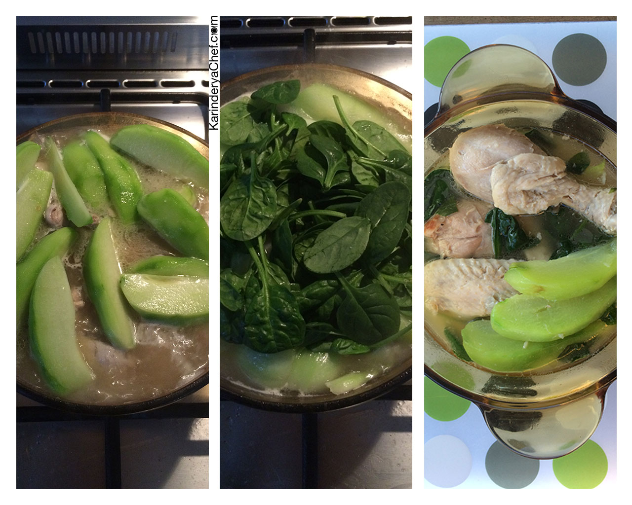 Last two steps of cooking Chicken Tinola
